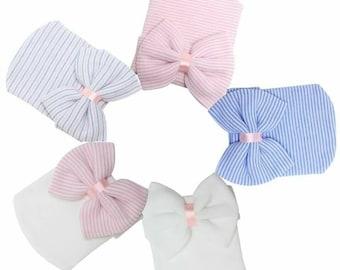 Newborn Hospital Hat - Pink Newborn Hats - Baby Hospital Bow Hat - Newborn Girl Hat - Baby Shower Gift - Baby Girl Hats - Hospital Beanie