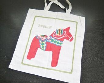 Swedish Printed Cotton Bag Dala Horse Souvenir Bag Scandinavian Design #2-26