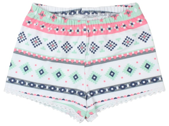 Pink and Mint Tribal Baby Shorts Girl Shorts Toddler Shorts Cluny Lace Shorts Mint Tribal Toddler Shorts Aztec Shorts Tribal Baby Gift Mint