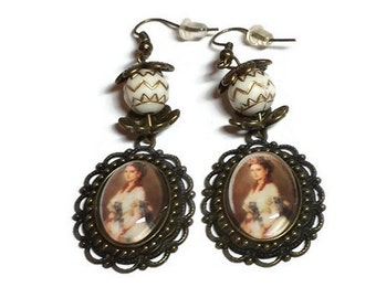 Victorian Lady Portrait Cameo Earrings