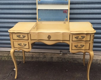Vintage French Provincial Vanity with pop up mirror