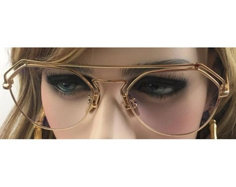 Retro aviator glasses vintage gold look