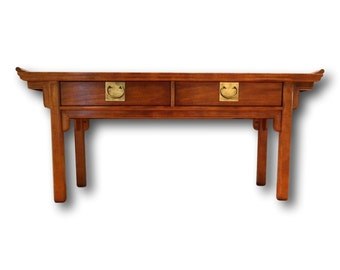 VVH Vintage Pagoda Console Table CENTURY FURNITURE Palm Beach Chic Hollywood Regency Altar Table Asian Style Entry Table Ming Sofa Table