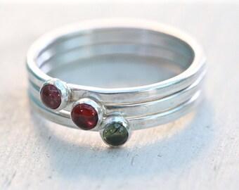 Sterling silver ring set, Tiny silver tourmaline ring set,  Tiny silver ring,  Silver Stacking  Ring set,  Gemstone Stacking Ring set