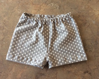 Gray with White Polka Dots Baby Girls Summer Shorts