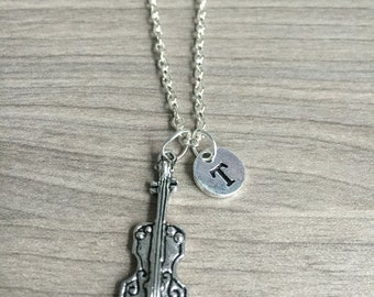 KIDS SIZE - Violin initial necklace, violin jewelry, gift for violinist, musician necklace, gift for music teacher, instrument jewelry