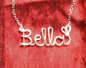 Name Necklaces,Bella necklace,Personalized wedding jewelery,Birthday gift,Bridesmaid necklace,Custom Name necklace