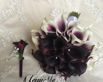 Purple and White Bouquet - Plum Calla Lily Bouquet - Real Touch Calla Lilies - Picasso Lily Bouquet - Keepsake Bouquet