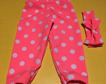 Pink Polka Dot Leggings and Headband