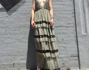 vintage mara hoffman special occasion wedding party maxi tiered dress size xsmall womens