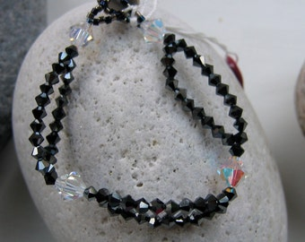 Black Swarovski Crystal Bracelet, Black Beaded Bracelet, Swarovski Button Fastener, OOAK