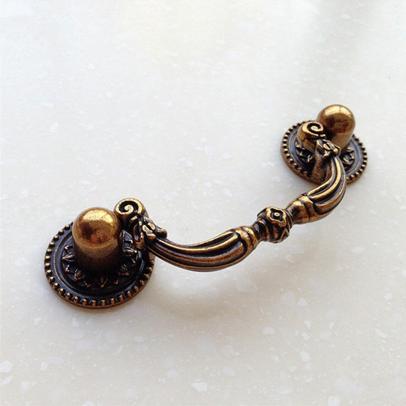 French Bail Dresser Drawer Pulls Handles Antique Brass Drop