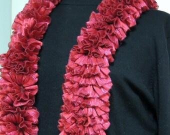 Handknitted Ruffled Ribbon Scarf