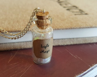 Light Magic Potion Bottle Charm Necklace - Potion Bottle Charm - Fairy Tale Jewelry - Once Upon A Time -  Emma Swan - Magic Spells -