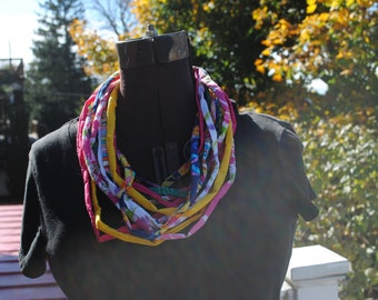 Upcycled Fabric Necklace Statement Bib Scarf