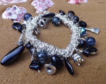 Witch bracelet, Halloween bracelet,  charm bracelet, stretch bracelet, witch jewellery, new age jewellery