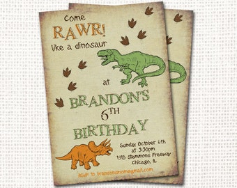 Dinosaur Birthday Invitation - Printable