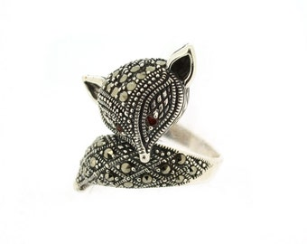 Art Deco Fox Ring Silver Marcasite