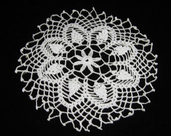 Vintage Doily Or Candle Mat, Small Hand Crocheted In White
