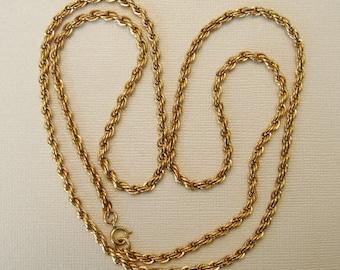 Vintage Gold Filled Rope Necklace, 1/20- 14K, 31 Inch Length