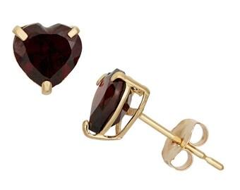 14K Gold Heart-cut Birthstone Stud Earrings