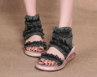 fREE SHIPPING-Handmade wide Leather Sandals/ platform shoe /2016 Summer Vintage handmade shoes-TNG26
