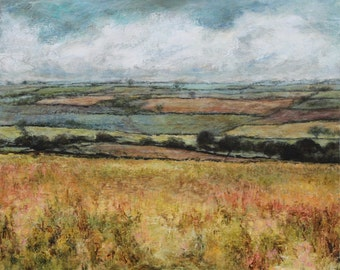 Patchwork fields in the Yorkshire Dales colourful landscape print Wensleydale Limited Edition Art Giclee print from Original Oil Painting