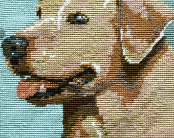 Woof! Labrador completed needlepoint
