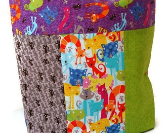 Fabric Library Tote, Shopping Bag, Market Tote, Pets, Cats
