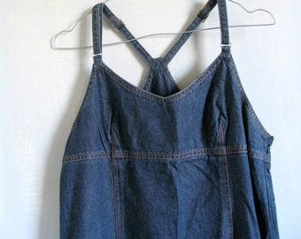 70s Jeans Sleeveless Maxi Dress Women's Dress Blue Denim Dress