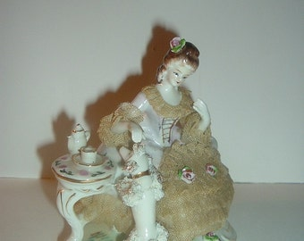 Vintage Victorian Lady in Lacey Dress and Poodle Figurine