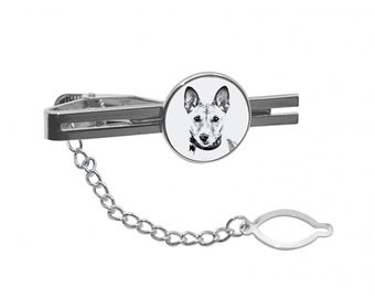 NEW! Basenji - Tie pin with an image of a dog.