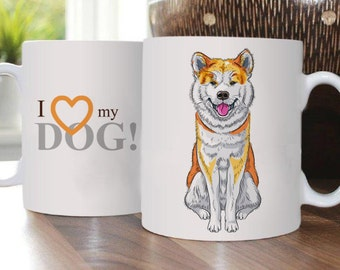 Akita Inu -  Cup with dog, Mug, Pet, ceramic, hardness and durability,