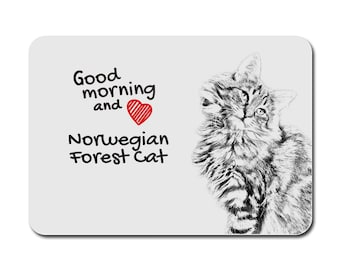 Norwegian Forest cat, A mouse pad with the image of a cat. Collection!