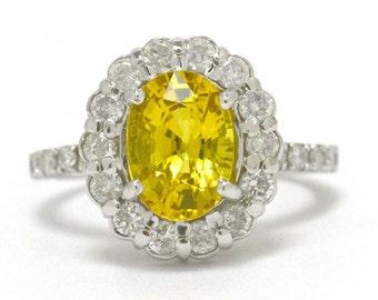 Vintage Yellow Sapphire Engagement Ring Oval White Gold Diamond Halo Diamonds Band Certified Appraisal Sale Half Price Estate Liquidation