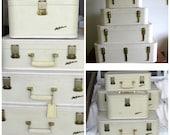 Lady Baltimore Luggage Set with Keys, Fashion Creamy White Suitcase, Travel Bags, Mid Century Suitcase, Movie or Photo Prop, laslovelies