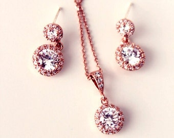 Delicate Rose Gold Bridal Jewelry Set Petite Wedding Jewelry Set Bridesmaid Gift Set Rose Gold Earrings and Necklace Set Bridesmaid Set