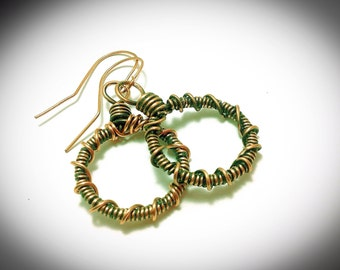 Copper Wire wrapped coiled hoops with antiquing