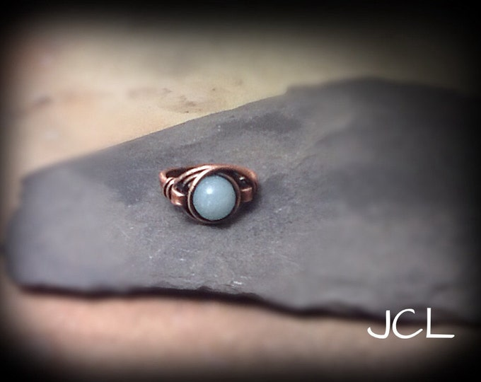 Copper wire wrapped single band ring with Amazonite focal