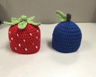 Newborn Strawberry & Blueberry Crochet Hats