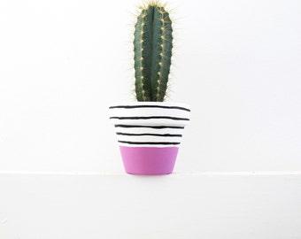 Hand Painted Raspberry Stripe Plant Pot - 6cm