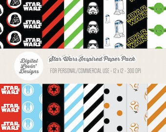 INSTANT DOWNLOAD - 16 Star Wars Digital Papers for Scrapbooking, Crafts, Invitations for Commercial and Personal Use