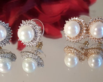 Bridal CZ Faux Pearl Stud Earrings Silver or Gold
