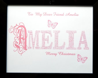 New Personalised First Name Word Art, PDF ONLY, Ideal Christmas, Birthday, Friend Unique Gift & Keepsake