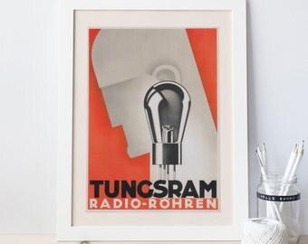 MACHINE AGE Poster -  Tunsgram Radio - Vintage Tube Amp Poster - Audiophile Industrial Art Print - Machine Age Art Giclee Print