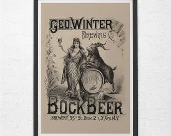 ANTIQUE BEER AD - Vintage New York Brewery Poster, Beer Poster, Bock Beer Print Art, Vintage Brewing Poster, Craft Beer Poster