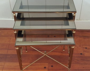 Set of Three Hollywood Regency style Brass Nesting Tables