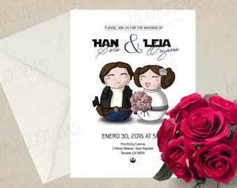 Invitacion Boda Guerra de las Galaxias / Invitacion  Boda Han y Leia Star Wars / Invitacion boda Star Wars
