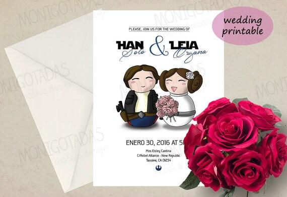 Star Wars wedding invitations Han Solo and Leia printable