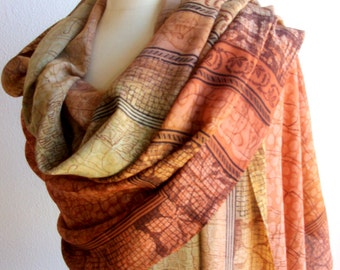 Arabic scarf or Shawl in silk crepe mixed